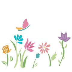 Spring flower with butterfly. Colourful Field. Vector.