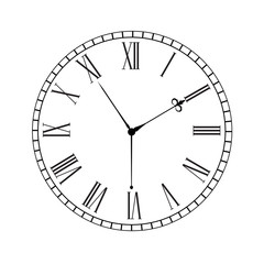 Clock dial with roman numerals.