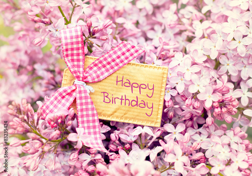 Blossom Flower Greeting Card Background Happy Birthday Stock