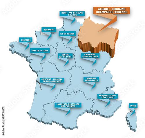 """""""Carte régions de France 3D ALSACE"""" fichier vectoriel libre de droits sur la banque d'images ..."""