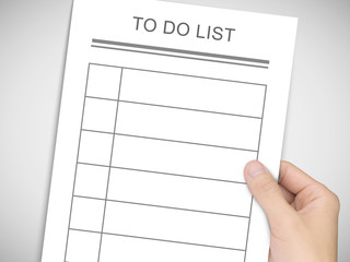 business concept: man's hand holding to do list
