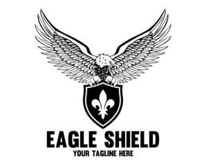 Eagle Shield Black and White Logo Templates