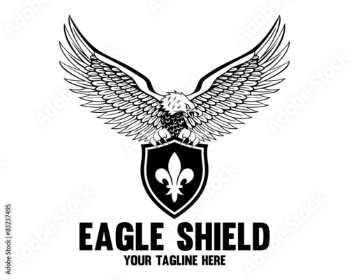 """eagle shield black and white logo templates"""" stock image and"""