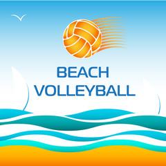 Beach Volleyball Bright Vector Design Element