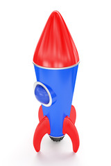Toy red and blue space rocket