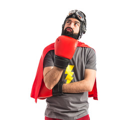 Super hero thinking over white background