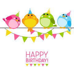 Cute birds with Birthday message