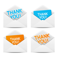 Paper envelopes with Thanks message