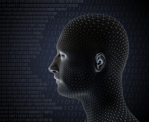3d render of cyber man on grey background with computer language