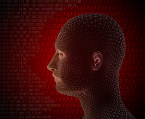 3d render of cyber man on red background with computer language