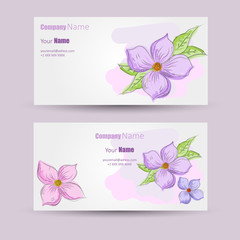 Business cards design with flower