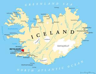 Fototapeten Pole Iceland Political Map