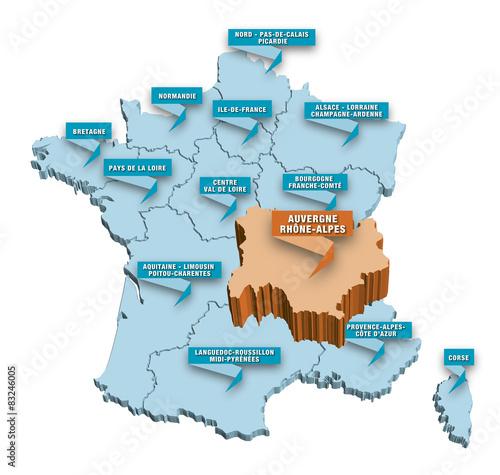 c57472720f2 Carte régions de France 3D RHONE-ALPES