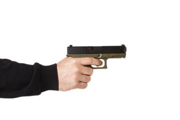 Brazo de hombre con pistola