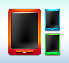 green blue red banners, computer tablet with buttons