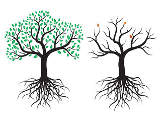 2 vector tree with roots and leafs.
