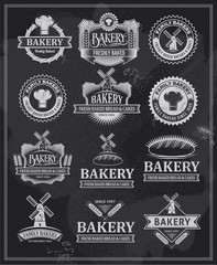 Collection of banners and ribbons - Bakery logo icon set