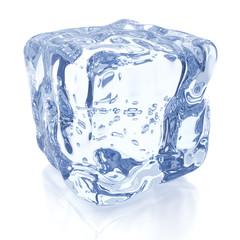 Ice cube against white, 3D render