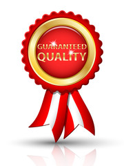 Golden GUARANTEED QUALITY tag with ribbons