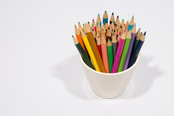 Colorful pencils isolated in white