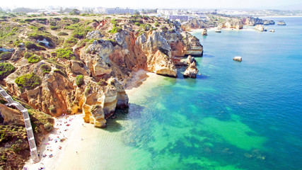 Aerial from natural rocks near Lagos in the Algarve Portugal Wall mural