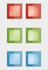 six color square badges or buttons