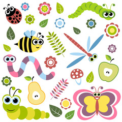 Background with cartoon insects, flowers, leaves, apple and pear