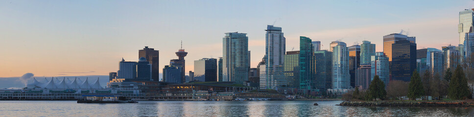 Vancouver BC City Skyline from Stanley Park at Sunrise