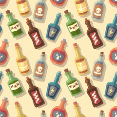 Seamless pattern with bottles. Vector illustration.