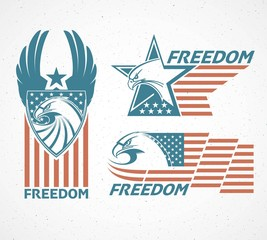 Memorial Day. Typographic card with the American flag and eagle