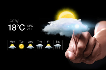 Hand pressing virtual weather icon