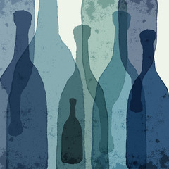 Blue bottles. Watercolor silhouettes.