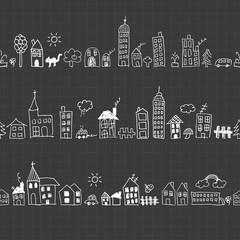 Cityscape seamless pattern