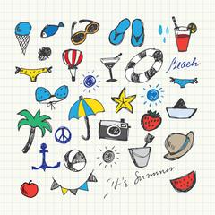 Summer Holiday doodles set