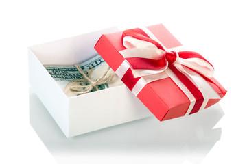 Dollar banknotes in Gift box