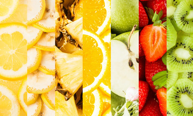 Collage of vertical stripes with fresh fruits