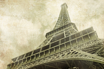 View on Eiffel Tower in Paris, France,Vintage image