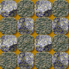 Seamless pavement pattern of marbled rounded squares