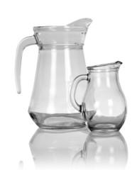 Empty glass pitchers