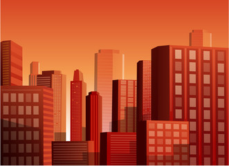 Sunset cityscape vector illustration background
