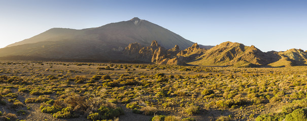 Amazing sunset at the peak of volcano Teide, Tenerife.