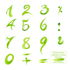 Set hand-drawn calligraphy numbers and symbols. Watercolor.