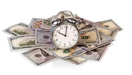 Money bills with clock