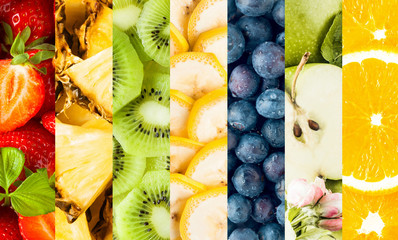 Collage of fresh sliced tropical fruit