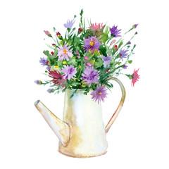 Watercolor jug (watering can) of flowers.
