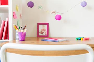 School accessories on kid's table