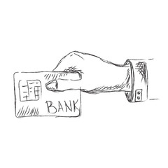 Hand, holding, credit, card, sketch, vector, illustration
