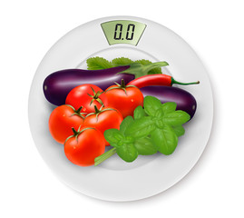 Scale With Vegetables. Concept of Diet. Vector.
