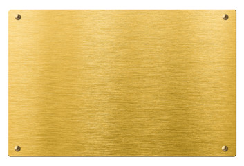 Wall Mural - gold or brass metal plate with rivets isolated