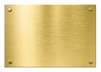 Wall Mural - gold or brass metal plaque with rivets isolated
